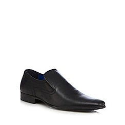 Red Tape - Black leather perforated slip ons