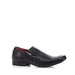 Red Tape - Black leather stitched slip ons