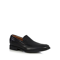 Clarks - Black leather 'Tilden Free' slip-on shoes