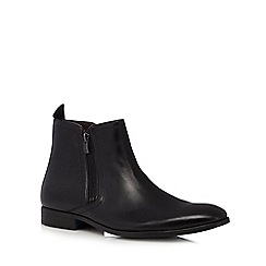Clarks - Black 'Banfield' leather double zip Chelsea boots