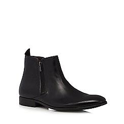 Clarks - Black 'Banfield' leather double zip Chelsea boots