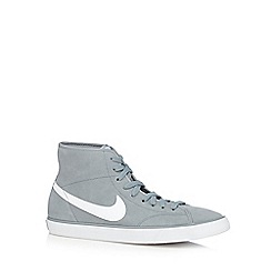 Nike - Light grey 'Primo Court' mid leather trainers