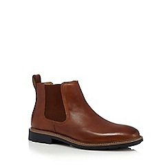 Steptronic - Big and tall tan leather chelsea boots