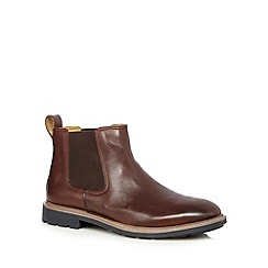 Steptronic - Big and tall brown leather chelsea boots
