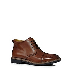 Steptronic - Big and tall tan leather brogue chukka boots