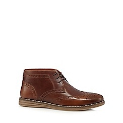 Red Tape - Brown 'Mayo' leather brogue chukka boots