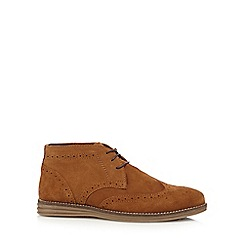 Red Tape - Tan 'Mayo' suede brogue chukka boots