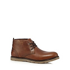Red Tape - Brown 'Tiffey' leather lace up boots