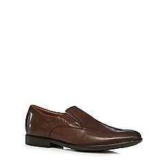 Clarks - Brown 'Gosworth Step' leather slip on shoes