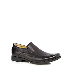 Steptronic - Black leather slip-on shoes