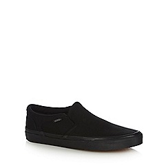 Vans - Black 'Asher' canvas slip on trainers