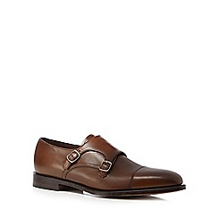 Loake - Brown leather double monk strap shoes