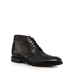 Loake - Big and tall black 'harrington' leather lace up boots