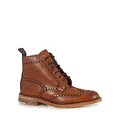 Loake - Big and tall brown leather brogue boots