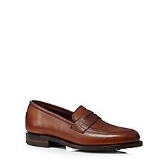 Loake - Big and tall brown leather penny loafers