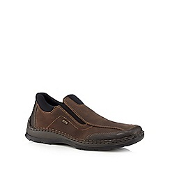 Rieker - Brown leather slip-on shoes