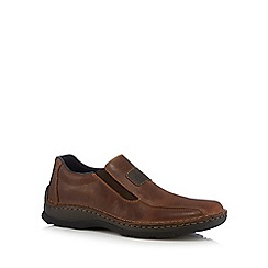 Rieker - Dark tan leather slip-on shoe