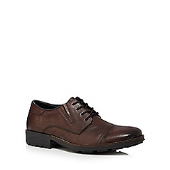 Rieker - Brown leather 'Lack Up' Derby shoes