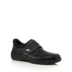 Rieker - Black leather apron rip tape shoes