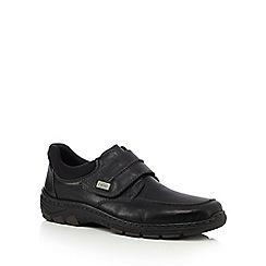Rieker - Black leather apron rip tape shoes