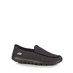 Skechers - Big and tall black 'Go Walk 2 super sock' slip-on shoes
