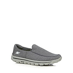 Skechers - Big and tall dark grey 'Go Walk 2 super sock' slip-on shoes