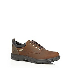 Skechers - Chocolate leather blend 'Segment Bertan' lace up shoes