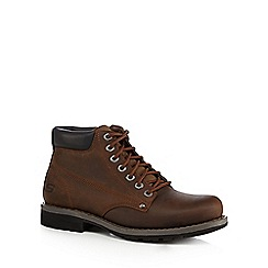 Skechers - Big and tall dark brown leather lace up boots
