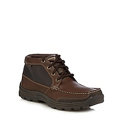 Skechers - Big and tall dark brown leather trainers