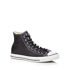 Converse - Black leather sherpa lined trainers