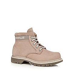 Caterpillar - Light brown 'Ridge Work Boot' lace-up boots