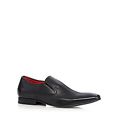 Base London - Black leather diamond slip-on shoes