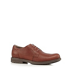 Caterpillar - Big and tall brown leather lace-up derby shoes