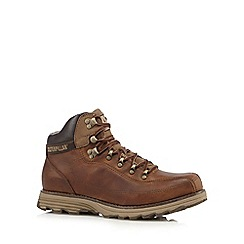 Caterpillar - Big and tall dark tan leather 'highbury' boots