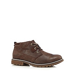 Caterpillar - Dark brown leather 'Harold' Chukka boots