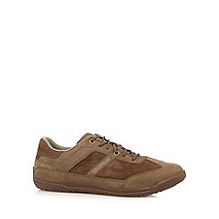 Caterpillar - Brown suede casual lace-up trainers