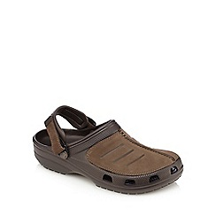 Crocs - Brown suede slip-on sandals