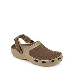 Crocs - Khaki suede slip-on sandals