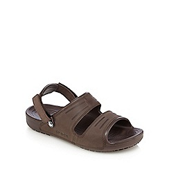Crocs - Brown suede two strap slip-on sandals