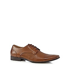 Jeff Banks - Tan perforated detail lace up shoes
