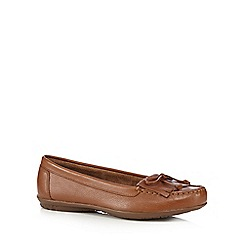 Hush Puppies - Tan leather moccasin slip-on shoes