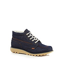 Kickers - Navy denim lace up ankle boots