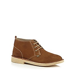 Kickers - Tan suede lace up ankle boots
