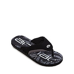 Animal - Black logo print thong sandals