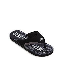Animal - Black logo print thong sandals
