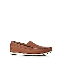 Hush Puppies - Tan leather 'Bob Portland' slip-on shoes