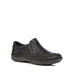 Hush Puppies - Black leather 'Briggs Tallon' slip-on shoes