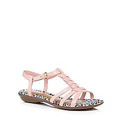 Hush Puppies - Light pink 'Nishi' leather t-strap low sandals