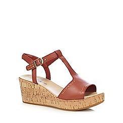 Hush Puppies - Dark orange 'Blakely Durante' mid wedge sandals