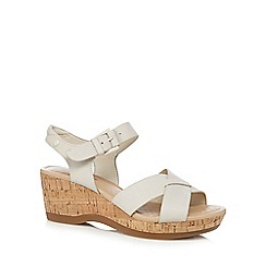 Hush Puppies - Off white 'Eva Farris' mid wedge sandals